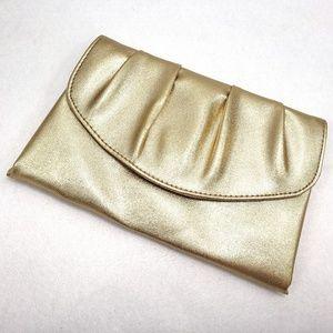 Metallic Gold Clutch Purse Faux Leather Envelope